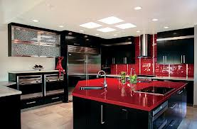 kitchen black and red